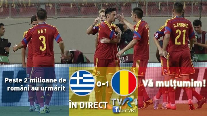 Peste 2 milioane de români au urmărit meciul Grecia - România la TVR. VEZI calendarul meciurilor echipei naţionale
